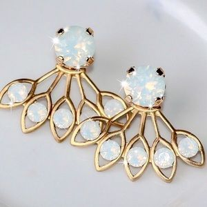 2/$20! Gold Iridescent Gem & Jackets Earrings